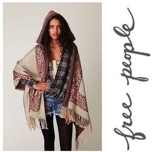 Free People Wester Hooded Poncho